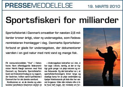 Det danska sportfisket är värt massor med pengar, konstaterar Sportfiskeförbundet i ett pressmeddelande.