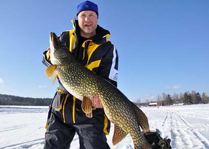 Mats Söderholm med den mycket tjocka och välfödda gäddan som pressade vågen över 16-kilosstrecket.