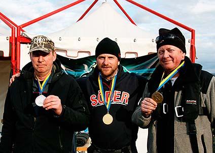 Medaljörerna i den individuella klassen: Göran Andersson, Lasse Norgren och Robert Waardahl.