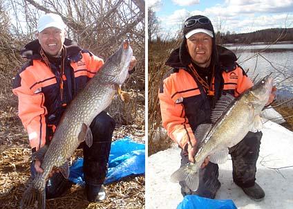 Patrik Andersson med sina två drömfiskar – gädda på styvt 13 kilo och en gös som inte heller gick av för hackor.