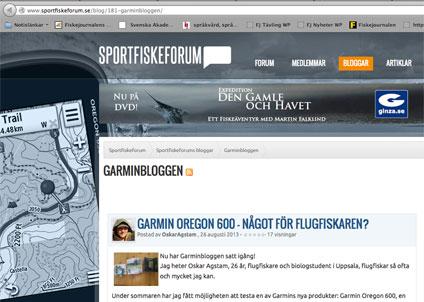 Missa inte Garmin-bloggen på Sportfiskeforum.se.