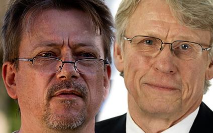 Christer Borg (tv) och Älvräddarna menar att Kjell Jansson och Svensk Energi använder falska argument i debatten om vattenverksamhetsdirektivet.