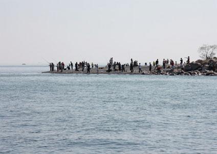 Sportfiske vid Kronborg i Helsingör, med de hotade områdena i bakgrunden. (Foto: Markus Lundgren)