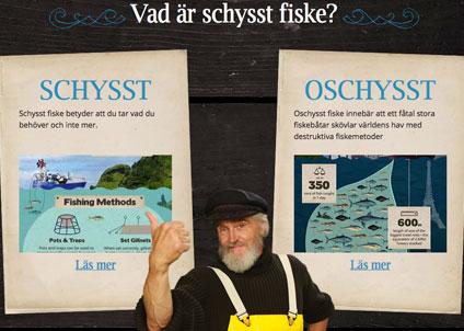 90 procent av världens fiskbestånd är fiskade till max eller överfiskade. Inte schysst fiske med andra ord.