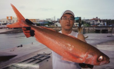 Vackert är det här världsrekordexemplaret på Rubyfish som väger 3997 gram och fångades utanför Yonaguni Island, Japan Bild: IGFA